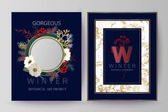 Winter holiday background, invitation. Wedding pattern design. Floral arrangement. Botanical frame, mirror, composition. stock photos