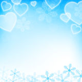 Winter holiday background with snowflakes and heart shapes Stock Image