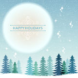 Winter Holiday background - snowing night. Christmas holiday background, snow night with blue full moon. File contains Transparency, Gradients, Clipping mask and Stock Photography