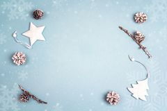 Winter holiday background with white decorations and snow painte Stock Photo