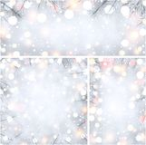 Winter holiday backgrounds with fir branches. Winter shiny backgrounds set with white fir branches. Vector Christmas illustration Royalty Free Stock Photography