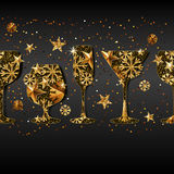 Winter holiday  black background with gold drinking glasses. Golden stars, snowflakes in wine, champagne, martini, glass. New Year banner design, greeting card Stock Images