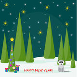 Winter holiday card with spruse, cute racoon and many bright col Royalty Free Stock Photo
