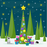 Winter holiday card with spruse, cute racoon and many bright col Stock Photography