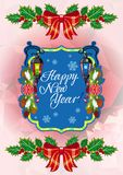 Winter holiday card with vintage lanterns, pine branches and artistic written text `Happy New Year!`. Stock Photography