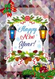 Winter holiday card with vintage lanterns, pine branches and artistic written text `Happy New Year!`. Stock Photos