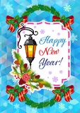 Winter holiday card with vintage lanterns, pine branches and artistic written text `Happy New Year!`. Stock Image