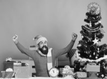 Winter holiday and celebration concept. Santa presents decorated Christmas tree. Man with beard and happy face gets ready to celebrate New Year. Santa Claus stock photos