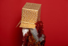 Winter holiday christmas concept - boy in santa hat with golden gift  box on top of the head Stock Photos
