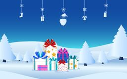 Winter holiday christmas presents with ribbon bow on snow scene. Christmas gift boxes and hanging elements. Royalty Free Stock Photography