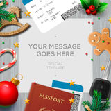 Winter holiday, Christmas travel template Royalty Free Stock Images