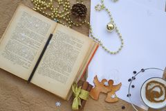 Winter holiday congratulations for bookworms Stock Images