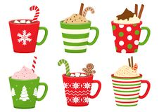 Free Winter Holiday Cups With Drinks. Mugs With Hot Chocolate, Cocoa Or Coffee, And Cream. Gingerbread Man Cookie, Candy Cane, Cinnamon Royalty Free Stock Image - 163644456