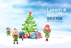 Winter Holiday Decoration Banner Green Elfs And Fir Tree On Background. Flat Vector Illustration Stock Photo