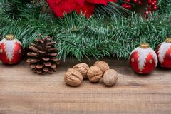 Winter holiday decoration: Blooming Red Poinsettia, Pine, Berry bush, Christmas tree balls, pine cone, walnuts and green garland. On wooden background royalty free stock photo