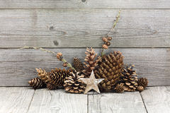 Winter holiday decoration with star and cones Royalty Free Stock Photography