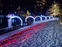 Winter holiday decorations in park Royalty Free Stock Photography