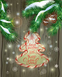 Winter holiday design. Old Wooden background with candy frame, f Stock Images