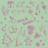 Winter holiday doodle ornament icon and leisure fashion item and Stock Images