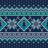 Winter Holiday Fair Isle Knitted Pattern with Snowflakes and Christmas Tree Stock Photography