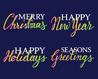 Winter holiday fluid colors. Winter holiday fluid colors and white lettering set. Merry Christmas, Seasons Greetings, Happy Holidays and New Year inscriptions Royalty Free Stock Photo
