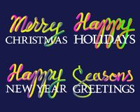 Winter holiday fluid colors and white lettering set. Merry Christmas, Seasons Greetings, Happy Holidays and New Year inscriptions.  Stock Photos