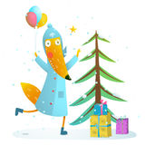 Winter holiday fox celebrating with presents for kids Stock Photography