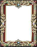 Winter holiday frame. Jewel encrusted ornate holiday frame royalty free illustration