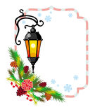 Winter holiday frame with vintage lanterns and Christmas decorations. Copy space Royalty Free Stock Photos