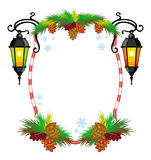 Winter holiday frame with vintage lanterns and Christmas decorations. Copy space Stock Photography