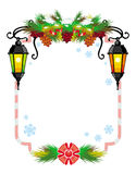 Winter holiday frame with vintage lanterns and Christmas decorations. Copy space Stock Images