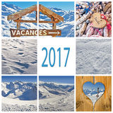 2017 winter holiday in France collage Stock Photos