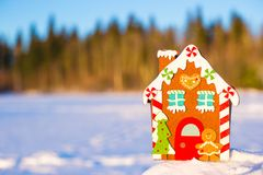 Winter Holiday Gingerbread house Royalty Free Stock Images