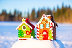 Winter Holiday Gingerbread house. On white snow royalty free stock photo