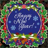 Winter holiday greeting card with Christmas decorations and artistic written text `Happy New Year!`. New Year Eve. Vector clip art Stock Photos