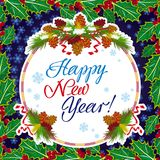 Winter holiday greeting card with Christmas decorations and artistic written text `Happy New Year!`. New Year Eve. Vector clip art Stock Photography