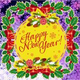 Winter holiday greeting card with Christmas decorations and artistic written text `Happy New Year!`. New Year Eve. Vector clip art Stock Photo