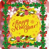 Winter holiday greeting card with Christmas decorations and artistic written text `Happy New Year!`. New Year Eve. Vector clip art Royalty Free Stock Photos