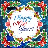 Winter holiday greeting card with Christmas decorations and artistic written text `Happy New Year!`. New Year Eve. Vector clip art Royalty Free Stock Image