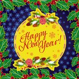 Winter holiday greeting card with Christmas decorations and artistic written text `Happy New Year!`. New Year Eve. Vector clip art Royalty Free Stock Photography
