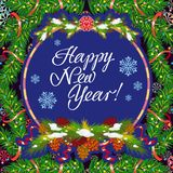 Winter holiday greeting card with Christmas decorations and artistic written text `Happy New Year!`. New Year Eve. Vector clip art Royalty Free Stock Images