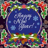 Winter holiday greeting card with Christmas decorations and artistic written text `Happy New Year!`. New Year Eve. Vector clip art Stock Images