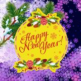 Winter holiday greeting card with Christmas decorations and artistic written text `Happy New Year!`. New Year Eve. Vector clip art Royalty Free Stock Photo