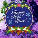 Winter holiday greeting card with Christmas decorations and artistic written text `Happy New Year!`. New Year Eve. Vector clip art Stock Image