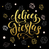 Winter holiday greeting card. Felices Fiestas gold spanish lettering Royalty Free Stock Image