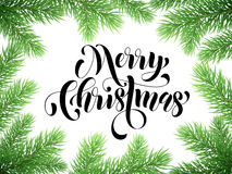 Winter holiday greeting card Merry Christmas. Christmas tree branches frame with lettering. Vector Merry Christmas lettering calligraphy for greeting card Stock Photo