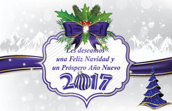 Winter holiday greeting card in Spanish Language Royalty Free Stock Images