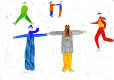 Winter holiday - hand drawn kid's illustration Royalty Free Stock Photo