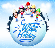 Winter Holiday With Happy Children And Snowman Mascot Standing in a Globe Stock Photos