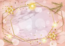 2019 Winter HolidayCoral color peach marble, bokeh lights background Gold geometric frames with gold snowflakes vector illustration